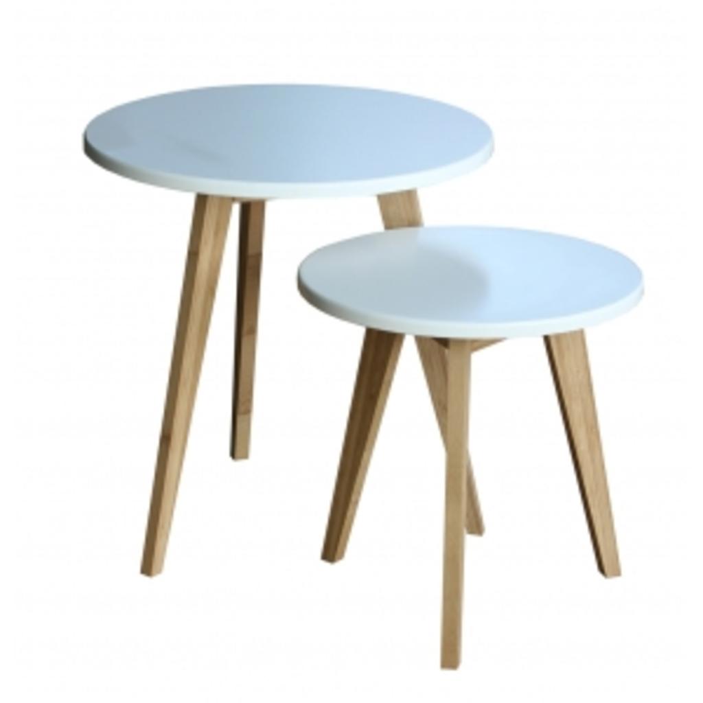 tuingerei bijzettafels bamboe wit set van 2 van haans lifestyle misc. Black Bedroom Furniture Sets. Home Design Ideas