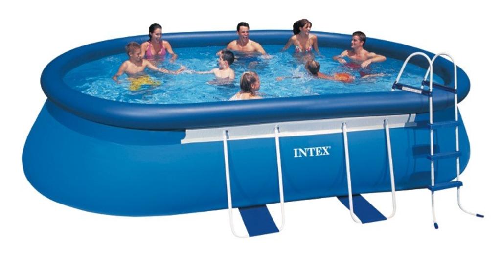 Tuingerei intex oval frame pool 549x305x107cm met for Rechthoekig zwembad met pomp