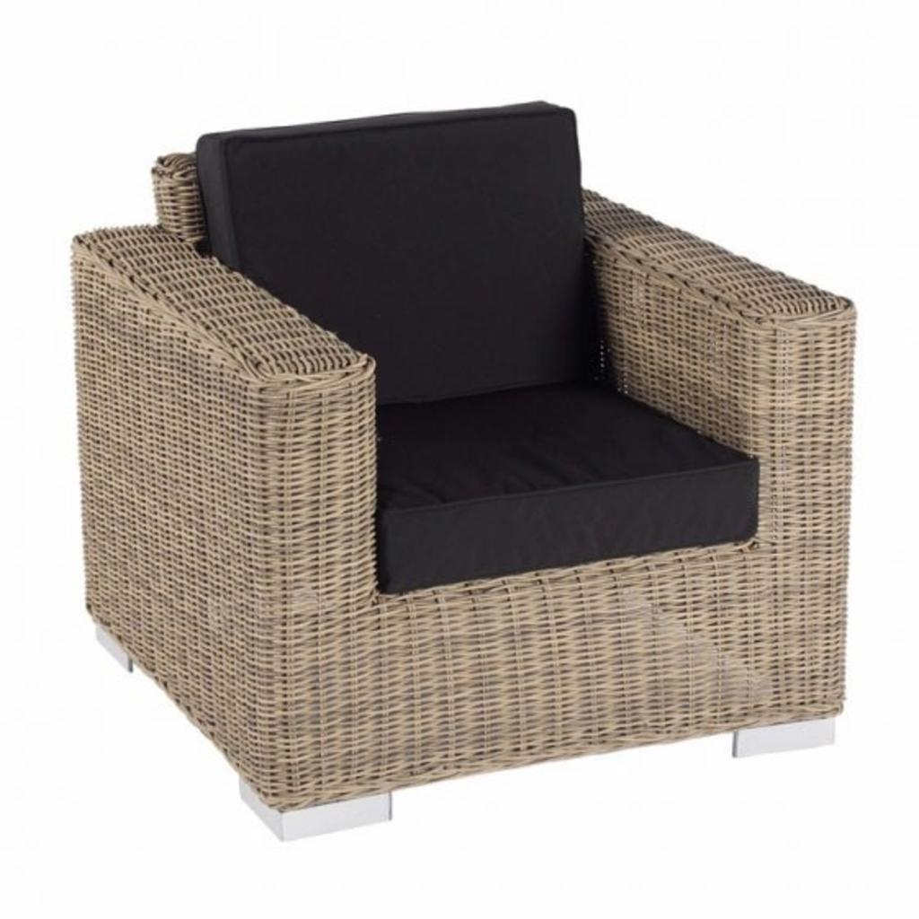 Tuingerei lounge stoel parijs naturel geborsteld rond for Lang rond kussen
