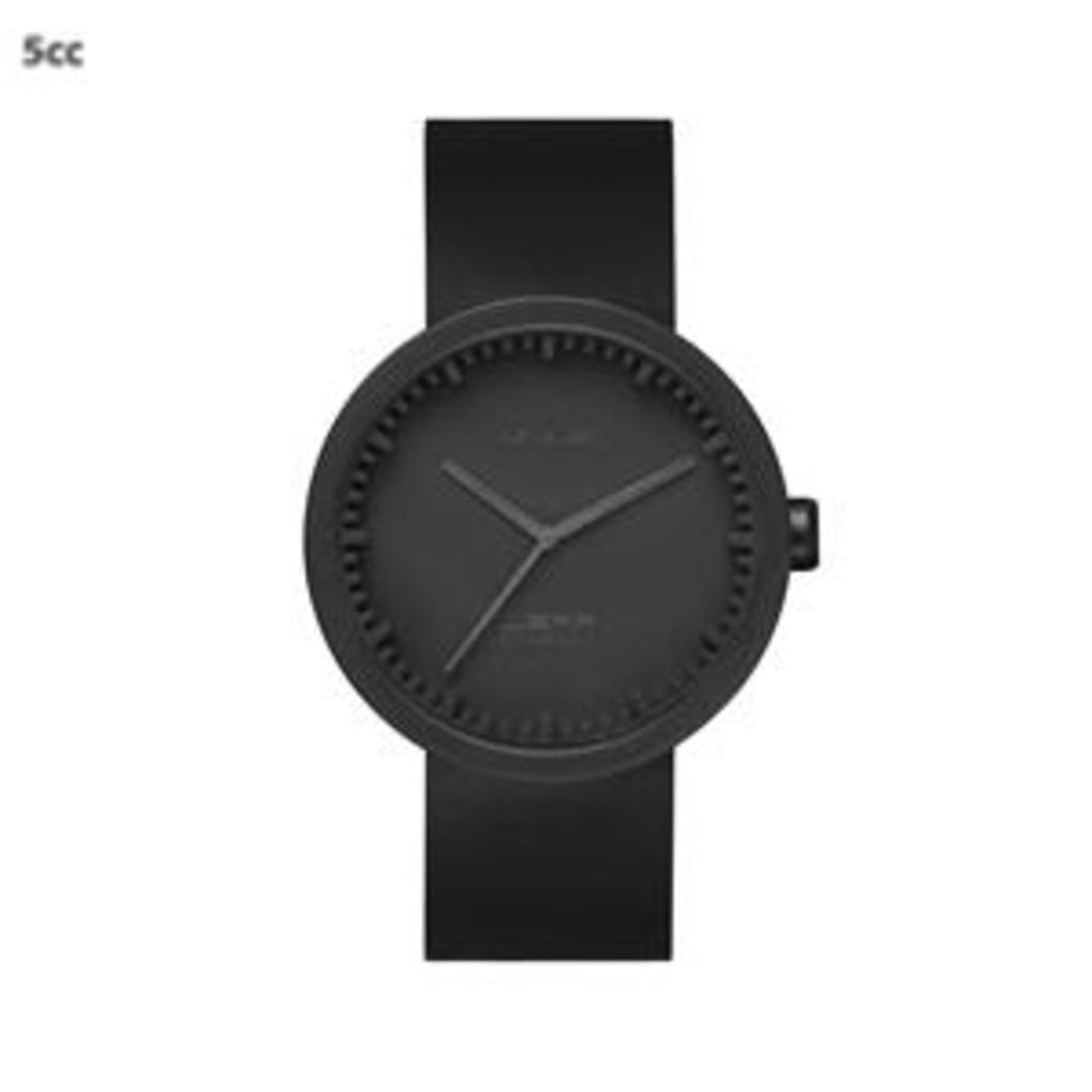 Tuingerei leff amsterdam horloge tube d42 zwart gecoat staal zwart leer van piet hein eek klokken - Zwart gecoat ...