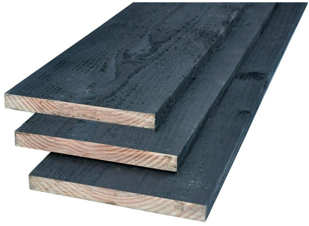 Tuingerei potdekselplank douglas 22 x 200 zwart geimpregneerd van woodvision misc - Planken zwarte ...